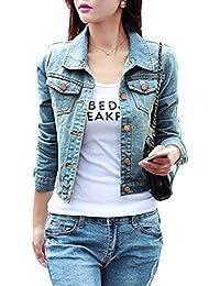 Mangotree Damen Jeansjacke Boyfriend Trucker Frühling Blouson  Übergangsjacke Kurz Denim Jacket 199800d622