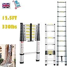 Plegable de aluminio escalera telescópica de extensión 12,5ft Climb ajustable plegable herramientas 13steps Max. 330lbs, para hogar casa almacén interior multifunción