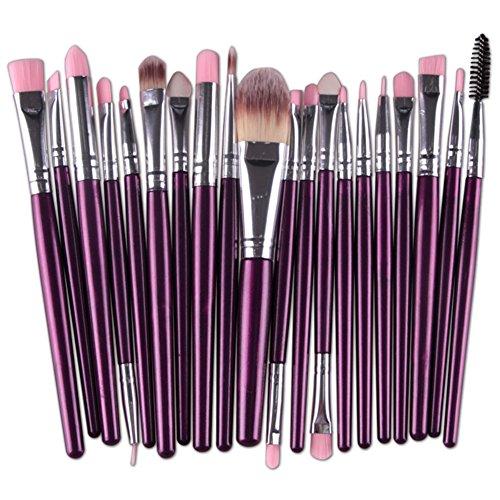 Huoju Pinceaux de maquillage Set 20 Pièces Premium Coloré Fondation Mélange Blush Yeux Visage Poudre Brosse Cosmétiques Maquillage Pinceaux Kit