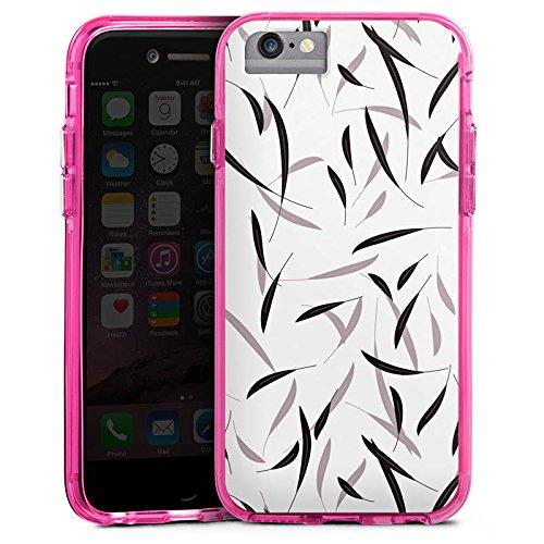 Apple iPhone 7 Bumper Hülle Bumper Case Glitzer Hülle Leaves Blaetter Pattern Bumper Case transparent pink