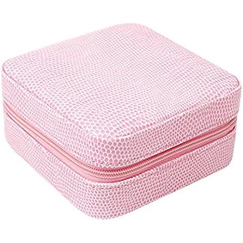 Niyatree Caja de Joyería Bolso Bolsa de Cremallera Organizador Almacenamiento de Piel PU Joyero para Joyas Anillos Pendientes Pulsera Viaje -