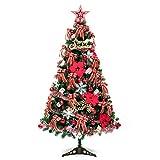 Chimlams Set Albero di Natale 1.2 m Decorazioni Natalizie Il PVC Contiene luci Decorative/Carte Desiderio/Palle/Stelle/Fiocchi di Neve/Fiocchi, Rosso