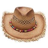 Cappelli Da Cowboy Cappelli Di Paglia Uomo Donna Rafi Estate Spiaggia Cappello Di Sole Cappelli A Tesa Larga, Marrone