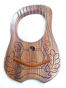 Nouvelle Gravure Lyre Harpe Harpe 10cordes en métal Housse de transport + Clé en bois de sheesham/Lyra Jante rosewwod Irlandais Design