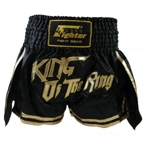 4Fighter Muay Thai Shorts Thaibox Hose King of The Ring schwarz-Gold, Größe:XL