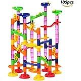 FUNTOK 105 piezas Juego Pista de Canicas Marble Run Juguetes de bloques de construcción Juego de educación para niños
