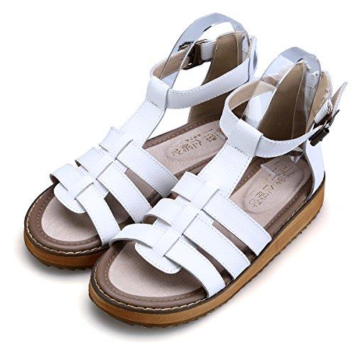 Wealsex Sandales Plate Bride Boucle Plateforme Femme Bout Ouvert Fermeture Eclair Sandales Spartiates Basses Blanc