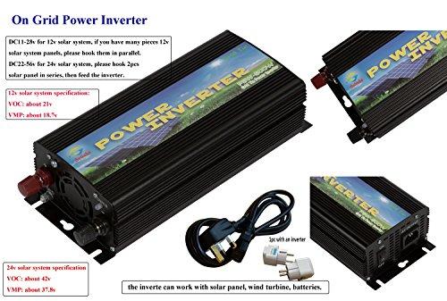 Solinba 500w on Grid Tie Pure Sine Wave Inverter Solar DC11v-28v to AC190-260v for 12v Solar system