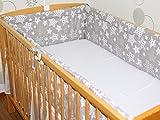 Nestchen Bettumrandung Kopfschutz Für Baby Kind - Galaxis GRAU- 190 cm, 360 cm, 420cm für Bett 70x140 cm, 60x120cm 420 cm