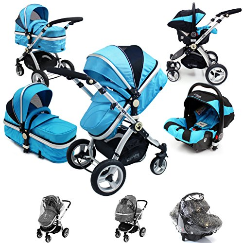 i-Safe System – Ocean Trio Travel System Pram & Luxury Stroller 3 in 1 Complete With Car Seat + Rain Covers 51Bf9i8b 2B L