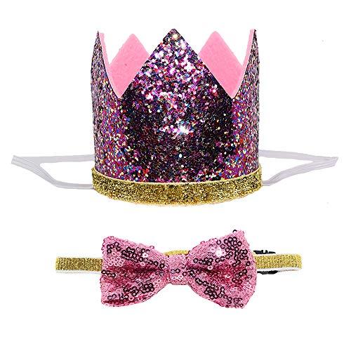Petsidea Süsse Haustier Geburtstag Krone Hut und Fliege Set Halsband für Hund Katze Geburtstag Party Supplies, One Size, Violett