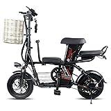 Suyanouz Eltern-Kind-Elektrisches Fahrrad 12-Zoll-Folding Elektrisches Fahrrad Abnehmbarer Batterie-Elektrisches Fahrrad Reise Elektro-Fahrzeug, 30Ah Schwarz, A