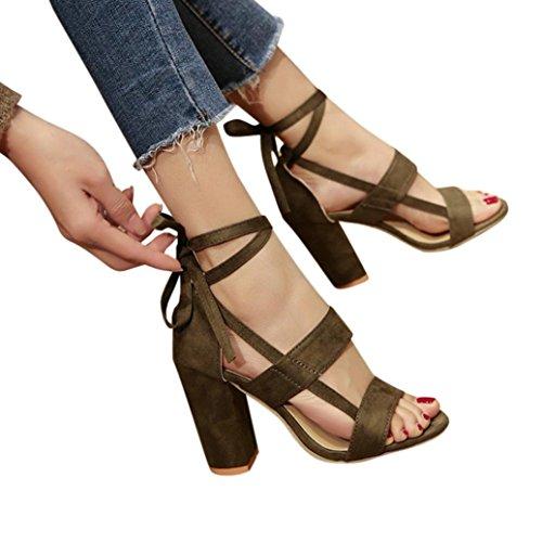 Fuibo Elegant Sandalette   Mode Frauen Damen Sandalen Ankle High Heels Block Party Offene Spitze Schuhe (36, Grün)