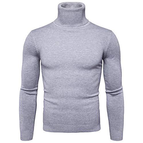 Xmiral Pullover Men Reine Farbe Rollkragen Langarm Slim Strickhemd Top (S,Grau)