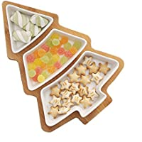 HopeU5 Vajillas de estilo europeo Árbol de Navidad con placa de bambú de cerámica de bocadillos de fruta plato de plato de caramelo