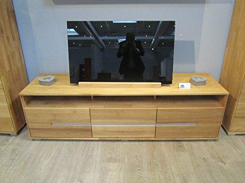 TV-Kommode Lowboard Wildeiche Massiv Slimline mit durchgehenden Lamellen 2997 exsopo - 5