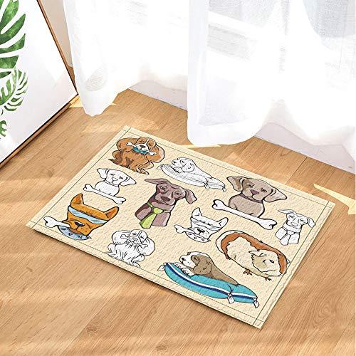 GAOFENFFR Gelber Hund mit Blauer Sonnenbrille und Knochen und weißem niedlichen Welpen, blaues Kissen Wasserdicht, haltbar, Rutschfest, Keine Chemikalien, Fußmatten, Fußmatten,60X40CM