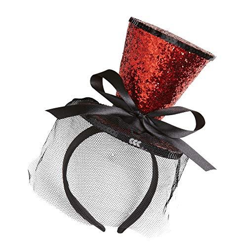 Kostüm Glitzer Rot - Minizylinder auf Haarreif