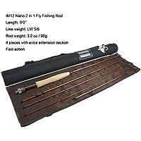 """aventik 2en 1varillas de pesca IM12Nano para pesca con mosca Rod de acción rápida con sección de extensión extra, para pesca con mosca Cañas 9'LW5/6(en 10' 4""""LW5/6& de la trucha ninfa pesca Rod"""