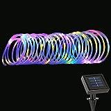 LE Manguera de luces LED Solar 100LED 12m con cable Resistente al agua Multicolor, decoración de jardín, terraza, Navidad