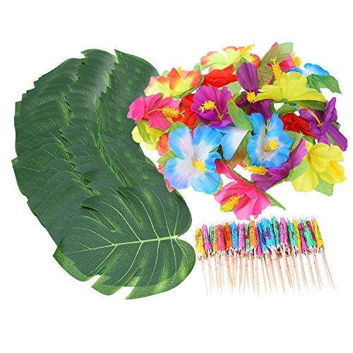 Shappy-98-Piezas-Decoraciones-de-Fiesta-Temtica-Hawaiana-Luau-Incluyendo-24-Piezas-de-Hojas-de-Palma-Tropicales-24-Piezas-de-Flor-de-Luau-y-50-Piezas-de-Paraguas-de-Multicolor