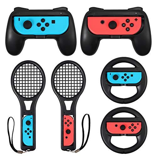 Switch Zubehör Set - 2X Griff Gaming Controller, Komfort Gamepad Controller Griff, 2X Tennisschläger und Switch Tennisspiel, 2X Lenkrad für Switch Joy-Con - Schwarz