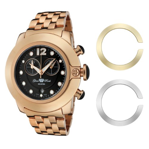 Glam Rock Women's GR32156 SoBe Chronograph Black Dial Rose Gold Ion-Plated Stainless Steel Watch