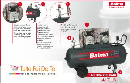 compressore balma bicilindrici con serbatoio da lt.200 trifase
