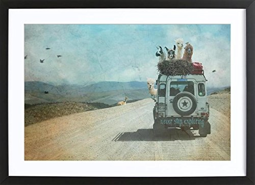 """JUNIQE® Bild mit Holzrahmen 30x45cm Tiere Reise - Design """"Never Stop Exploring II"""" (Format: Quer) - Wandbilder, Gerahmte Bilder & Gerahmte Poster von unabhängigen Künstlern - Kinderbilder & Kunst für's Babyzimmer - entworfen von Monika Strigel"""
