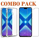 AONIR Combo Offer - Tempered Glass & Bumper Transparent Back Cover_Premium Quality Screen Guard And Soft Case Cover For Huawei Honor 8X