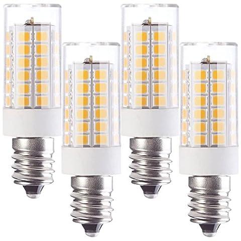 Granvoo 4-er Pack E12 5W Kaltweiß LED Licht mit PC-Abdeckung AC 220-240V 51x 2835 LEDs