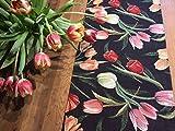 Herrlicher Tischläufer, Gobelin mit Tulpen, Noir, ca. 40x140 cm, von Provencestoffe