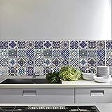 Wallflexi Pared Pegatinas Español Azul Azulejos Adhesivo extraíble de Pared Arte murales Adhesivos Oficina Decoración del hogar,, Pack de 4