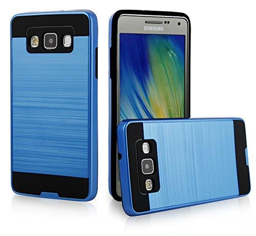 EGO® Hard Case Schutz Hülle für Samsung A500 Galaxy A5, Grau Metallic Effect Aluminium Brushed Handy Cover Schale Bumper Etui Blau