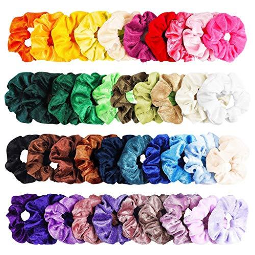 Finebuying 40 Stück Elastische Haargummis Samt Haarbänder Scrunchies Set Stirnbänder Haarschmuck Gummibänder Haarbänder Pferdeschwanz Inhaber Stirnbänder für Frauen oder Mädchen (Mehrfarbig) -