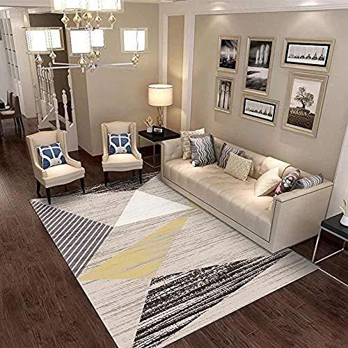 Grau Gestreift Kurz (soroucuin store Teppich Waschbar rutschfeste flauschig weich Küchen Kinderteppiche Grau gestreiften geometrischen 7MM Dicke kurzen geraden Haufen Schlafzimmer Esszimmer Boden 120x160CM)