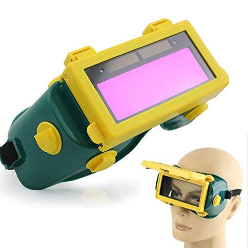 Xpccj casco per saldatura, saldatura auto oscuramento lcd solare protezione degli occhi occhiali occhiali maschera saldatore gas flip up lens