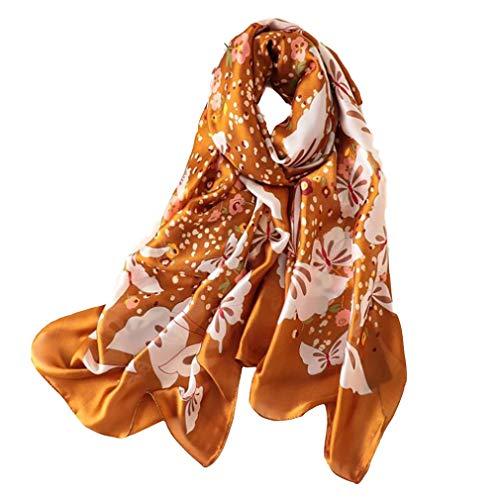 HYhy Silk Große Größe Gedruckt Floral Frauen Schal Wrap Stola Schal Weichen Strandtuch Schal, Khaki - Hand Gedruckt Floral Wrap