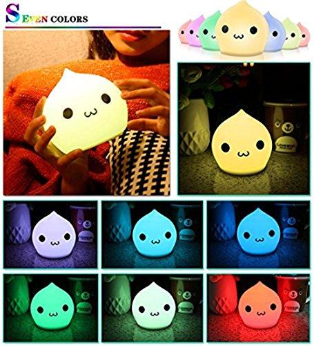 kkaaee Veilleuse LED avec 7niveaux de luminosité, enfants en Silicone LED Ampoule Veilleuse, tactile, lampe d'ambiance avec 3piles AAA (pas reçu dans la livraison), intensité variable Blanc chaud/changement de couleur avec interrupteur tactile pour bébé, chambre à coucher, chambre, wohnräume, camping, pique-nique polystyrène pour intérieur/extérieur, 2Lumière, yoga Lampe.