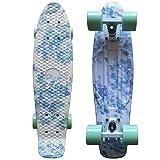 CY Mini Cruiser Shortboard Graphic Skateboards 22 Zoll(56cm) Kunststoff-Board im Retro-Stil Fertig Montiert Floral