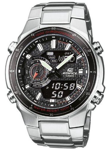 CASIO-Edifice-Mens-Quartz-Watch-with-Black-Dial-AnalogueDigital-Display-and-Silver-Stainless-Steel-Strap-EFA-131D-1A1VEF