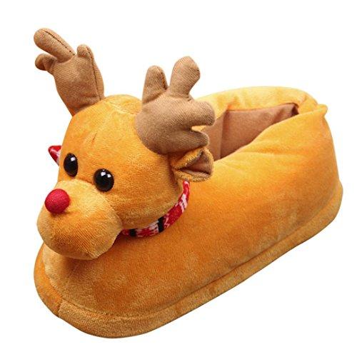 Weihnachten niedlich Elk Schuhe (Unisex Herren und Damen Plüsch Hausschuhe) Upxiang Winter Indoor / Outdoor warme Baumwolle Hausschuhe Baumwolle Schuhe (Gelb, 34-36/24.5cm)