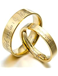 Gemini Personalize Groom & Bride Matching 18K Gold Filled Anniversary Wedding Titanium Rings Set, UK Size H to Z6