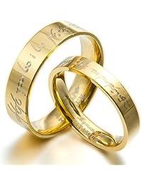 Personalizar el Señor de los anillos del novio y de la y a juego de novia de 18 K en oro en forma de boda aniversario juego de aros de titanio, talla H a Z6