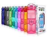 HoneyHolly Sport Trinkflasche - 25oz / 700ml - BPA frei dicht und umweltfreundlich - Für Gym, Laufen, Yoga, Camping, Outdoor, Männer, Frauen & Kinder - One Handed Open & Tritan Trinkflaschen aus Kunststoff mit Filter (0.7 Liter, Matte Rosa)