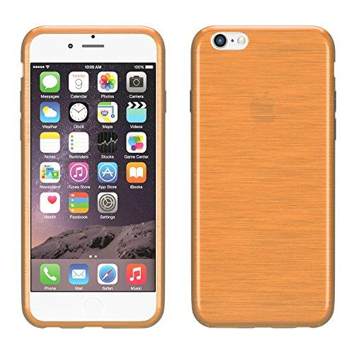 """EAZY CASE Handyhülle für Apple iPhone SE, iPhone 5S/5 Hülle - Premium Handy Schutzhülle Slimcover """"Clear"""" hochwertig und kratzfest - Transparentes Silikon Backcover in Klar / Durchsichtig Brushed Orange"""