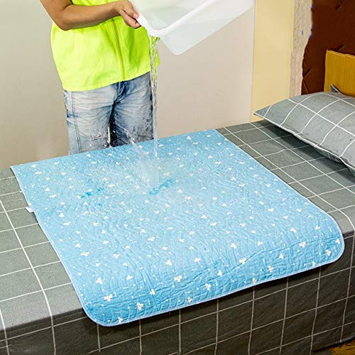 QINAIDI Materassino Antiscivolo Impermeabile Antiscivolo, Lavabile, 4 Strati Traspiranti,Blue,90 * 120cm