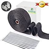 Titanium Lava Fiber,Exhaust Heat Wrap,Exhaust Header Wrap,Kit for Motorcycle with Stainless Ties (15M, Black)