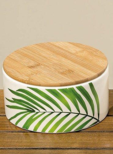 B. Home Collections Vorratsdose Palmenblätter flach mit Holzdeckel groß Steingut Keramik...