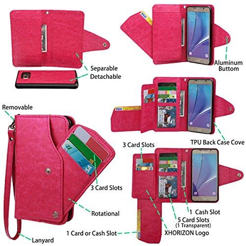 xhorizon TM MLK [Mise à niveau] [détachable] [séparable] 2 en 1 haut de gamme en cuir double-pli carte magnétique soutien le téléphone Compatible avec l'étui portefeuille avec cordon pour iPhone 6 Plu Or Rose